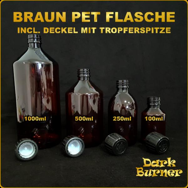 Dark Burner Braun PET Flasche inkl. Deckel
